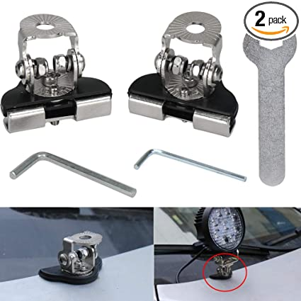 Ovotor 2pcs Stainless Steel Mounts Clamp Holder Universal Led Work Light Bar A Pillar Hood Mounting Bracket Clamp Holder For Off Road Installed