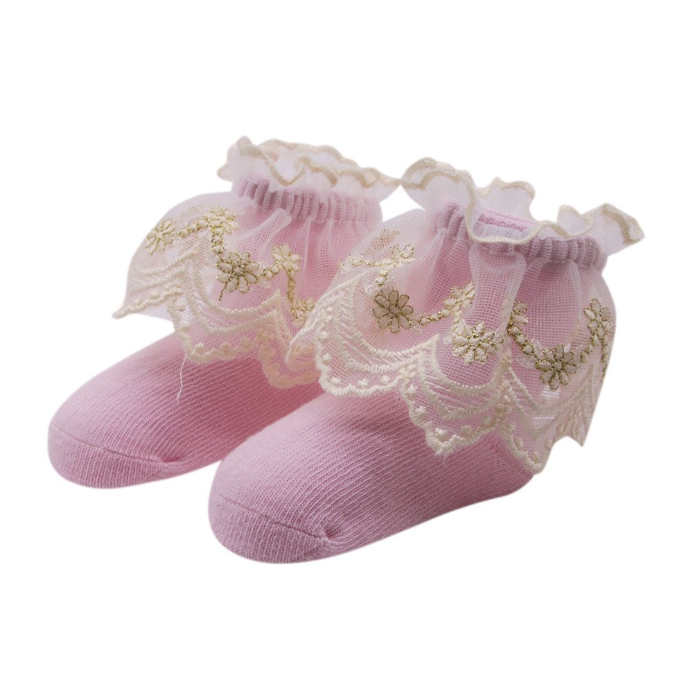 TianranRT Infant Baby Girls Princess Lace Frilly Socks Stretchy Warm Cotton Ankle Socks for Baby 0-12months
