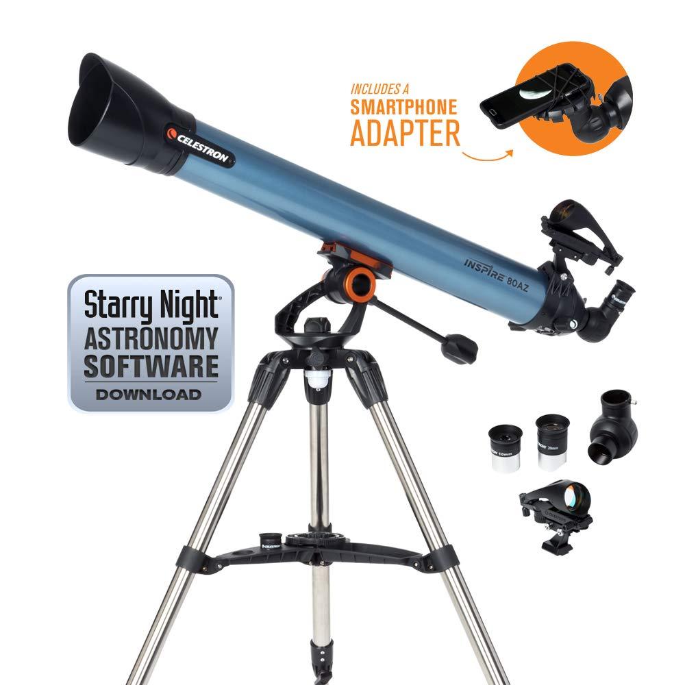 Celestron Inspire 80AZ Refractor Smartphone Adapter Built-in Refracting Telescope, Blue (22402) by Celestron