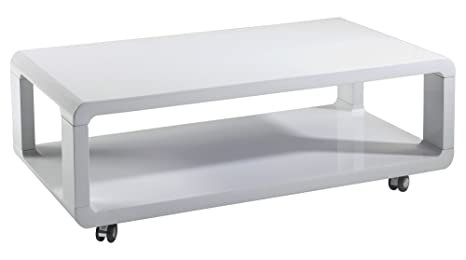Homexperts Couchtisch LEONA / moderner, niedriger Holztisch mit Rollen und  Ablage / Hochglanz Weiß / 105 x 58 x 38 cm (L x B x H)