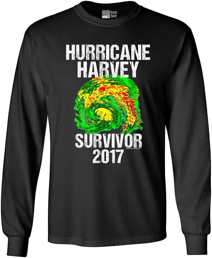 Long Sleeve Adult T-Shirt Hurricane Harvey Storm Survivor Houston Texas 2017 DT