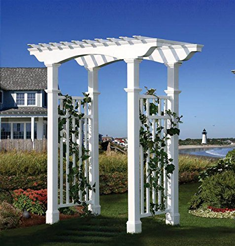 Vinyl Pergola Kits - Newport Vinyl Pergola Arbor With Trim Kit