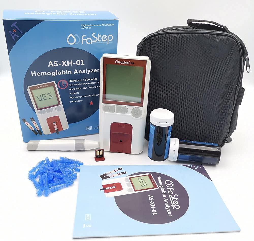 Healthcaretuye Hb Hemoglobin Meter Anemia Monitor Hemoglobin Test Meter Kit Hemoglobin Analyzer + Strips + Lancets + Bag + Lancing Device