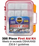 386 Piece First Aid Kit with Hard Red Case Exceeds OSHA & ANSI Standards, Mounts on Wall, 2 Levels of Supplies, Multiple Compartments, Includes Big Variety of Bandages, Alcohol Pads & Hundreds More
