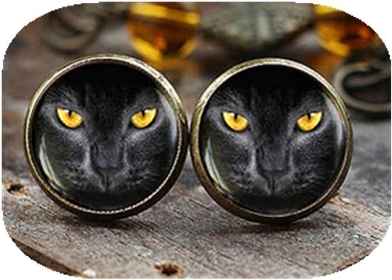 Pendientes de tuerca para gato negro, pendientes para gato, ojos ...