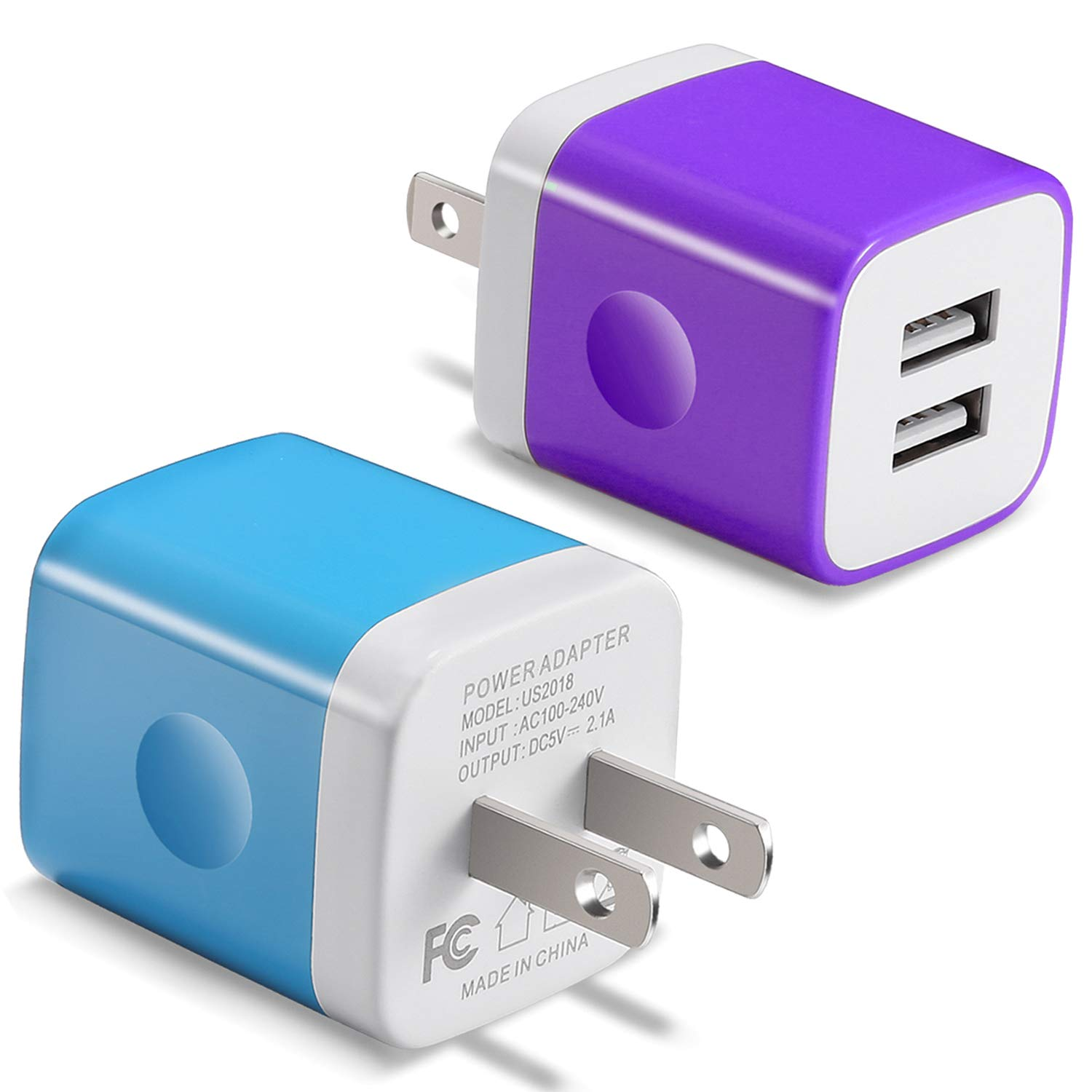 USB Wall Charger, BEST4ONE 2 1A/5V Dual Port USB Plug Power Adapter  Charging Block Compatible with Moto, iPhone X/8/7/6, Samsung, LG, More Cell  Phone