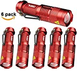 6 Pack,Pocketman 7W 300LM SK-68 3 Modes Mini Cree Red Q5 LED Tactical Flashlight by pocketman