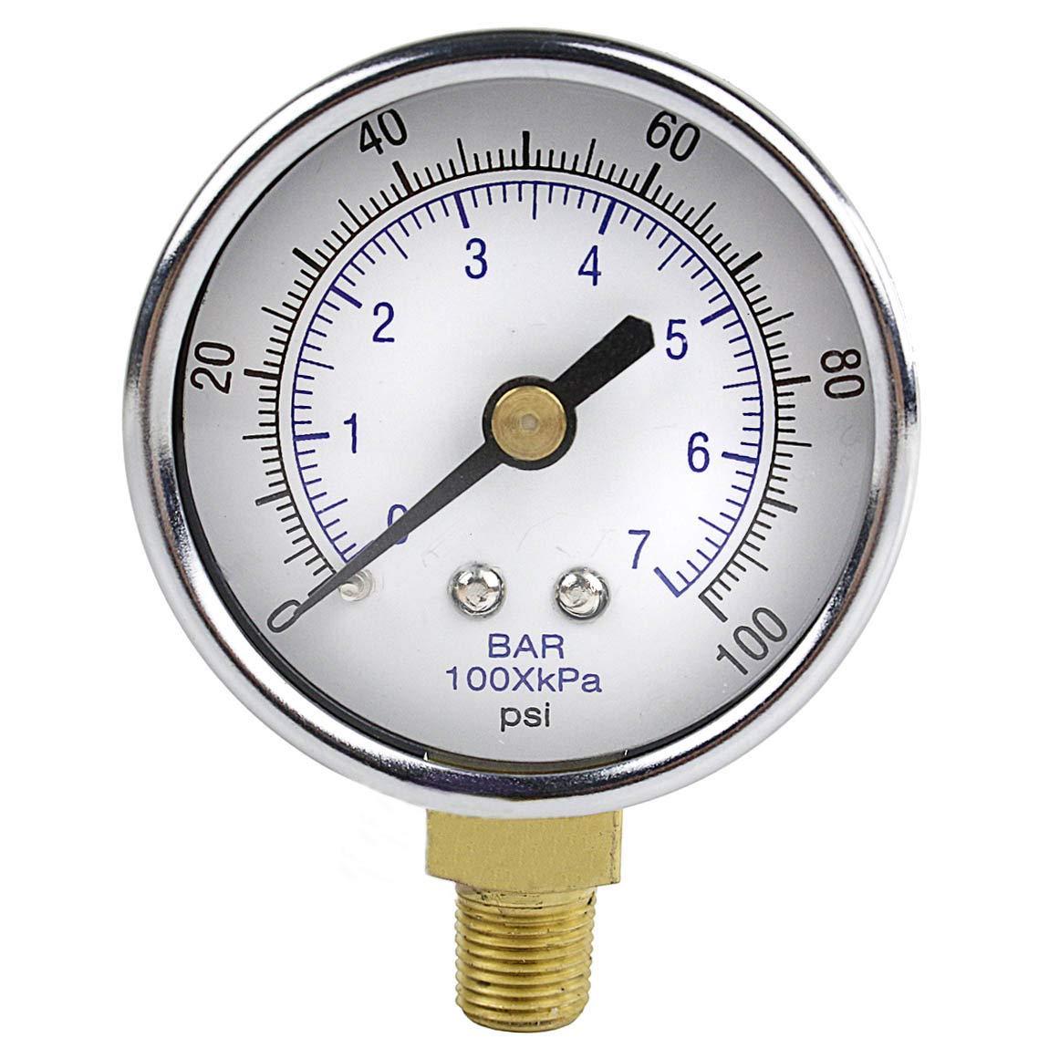 Bottom Mount Pressure Gauge NPT Air Compressor 0-300 PSI Display Part 1//4 in