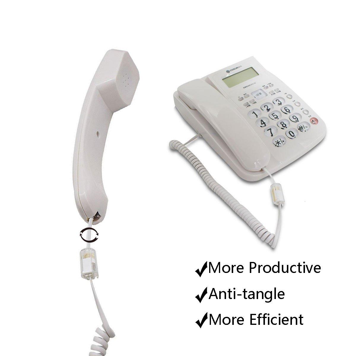 Telephone Cord Detangler 4 Pack Uvital Anti-Tangle Telephone Handset Cable 360 Degree Rotating Landline Swivel Cord Untangler Black