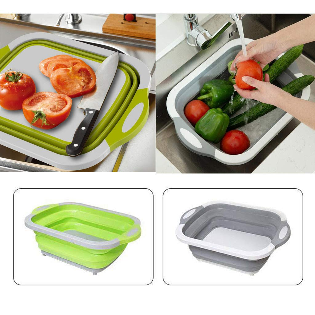 Meetsunshine Folding Vegetable Basket, 2PC Multifunction Foldable Cutting Board Fruit Vegetable Washing Drain Basket Multifunctional Combination Kitchen Tool Convenient and Save Space (Gray) by Meetsunshine