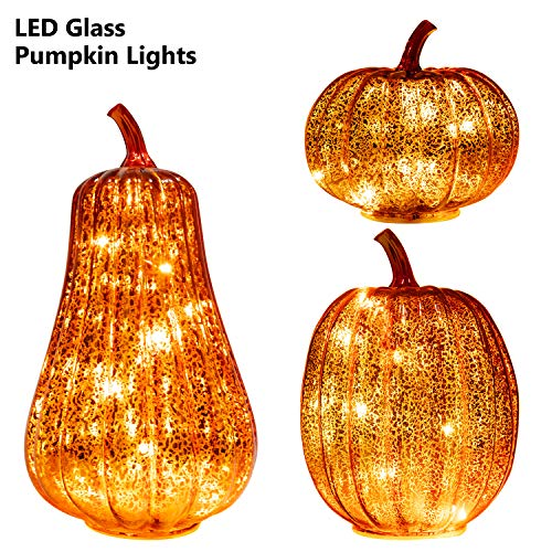Lighted Pumpkins For Halloween (KI Store Glass Pumpkin with Lights Set of 3 Large LED Lighted Mercury Glass Pumpkins Lantern with Acrylic Stem for Thanksgiving Autumn Fall Harvest Battery)