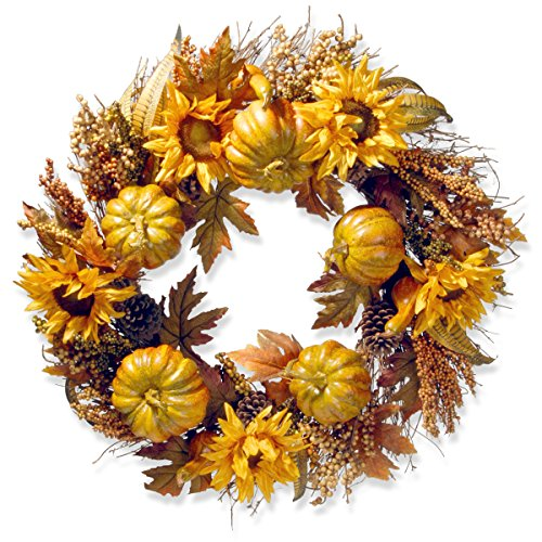 National Tree 30 Inch Sunflower Wreath with Pumpkins (RAHV-15425W30)