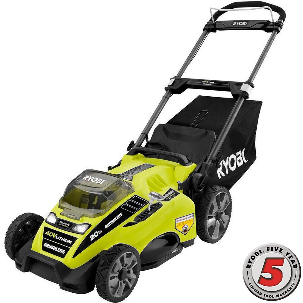 Ryobi RY40180 40V Brushless Lithium-Ion Cordless Electric Mower Kit, With 5.0Ah Battery, 19.88 '' x  40.748 '' x  22.677''