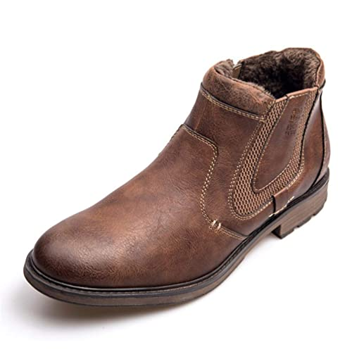 Botas De Chelsea para Hombre Botines para El Invierno OtoñO Retro Piel con Cremallera Botas para Caminar Zapatos A Prueba De Agua En MarróN