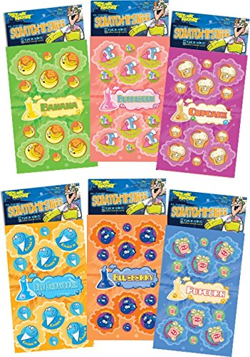 Just For Laughs Dr. Stinky's Scratch N Sniff Stickers 6-Pack- Blueberry, Popcorn, Cupcake, Blue Snowcone, Banana, Bubblegum 162 Stickers -