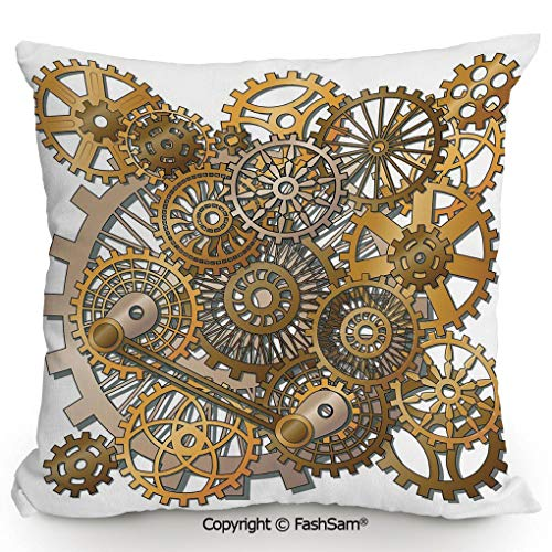 FashSam Throw Pillow Covers The Gears in The Style of Steampunk Mechanical Design Engineering Theme for Couch Sofa Home Decor(24