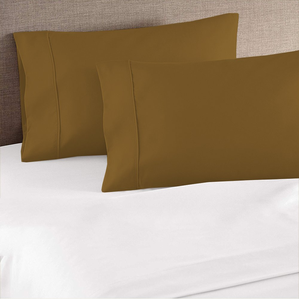 Addy Home Pillowcase 2pc Set Egyptian Cotton of Pillow Cases, Silky Soft & Wrinkle Free-King,Taupe Solid