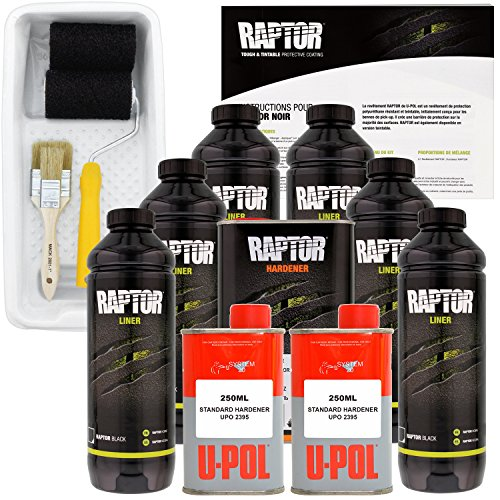 Roll Bed Liners (U-POL Raptor Black Urethane Spray-On Truck Bed Liner Kit with included Paint Roller, Tray & Brushes, 6 Liters)