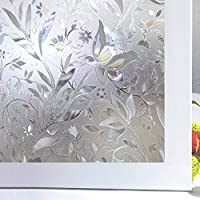 Bloss Window Film Frosted Fashion Hibiscus Glass Window Film Window Cling Opaque Non Adhesive Heat Control Anti UV 35inch-by-78.7inch