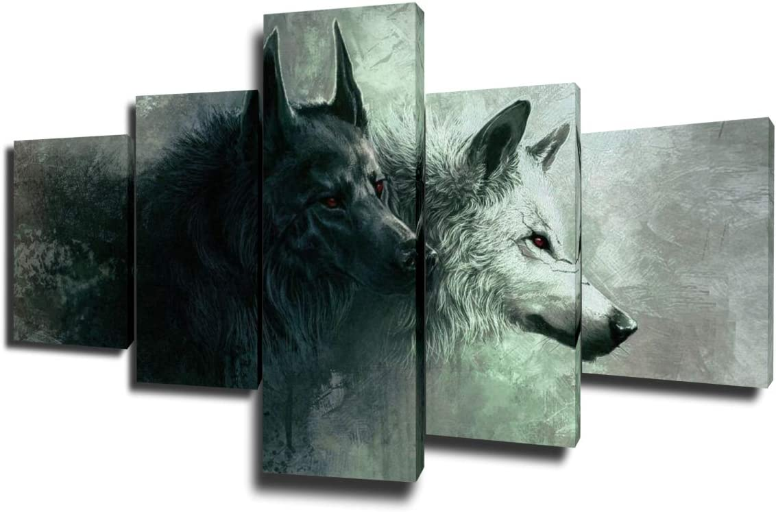 Wall Pictures for Living Room Black and White Painting Wildlife Wolf Wall Art Grunge Grey Artwork Multi Panel Prints on Canvas House Modern Decor Giclee Framed Stretched Ready to Hang(50''Wx24''H)