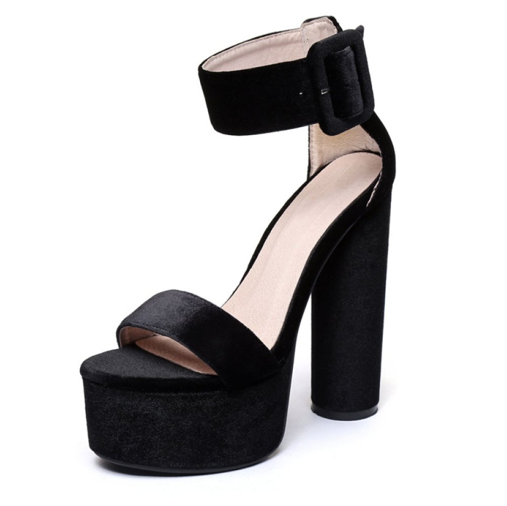 Botines De Gamuza De Gamuza De Gamuza De Las Mujeres Zapatos De Noche Plataforma De Tacón Grueso Mostrar Zapatos De Marea Sandalias 41 EU|Negro