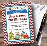 Circus Animals Train Childrens Birthday Party Invitations