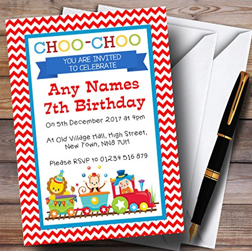 Circus Animals Train Childrens Birthday Party Invitations by The Card Zoo