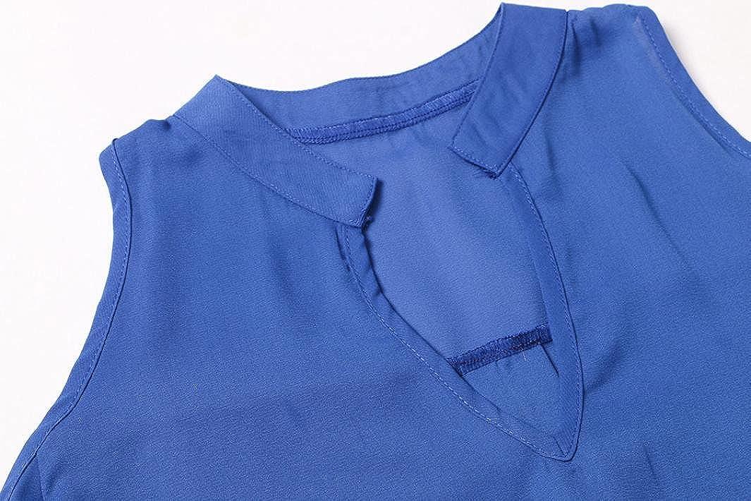DEELIN Camisa Sin Mangas con Cuello En V Sin Mangas De La Gasa del Temperamento Ocasional De Las Mujeres: Amazon.es: Ropa y accesorios