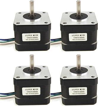 4pcs Motor paso a paso NEMA 17 26 NCM (36.8oz. en) 0,4 A 34 mm Longitud para impresora 3d//De Máquina de CNC Robótica: Amazon.es: Bricolaje y herramientas