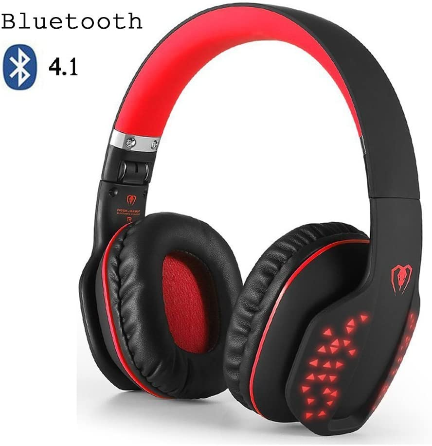 Bluetooth Over-Ear Headphone,Beexcellent Foldable Wireless HiFi Stereo Bluetooth 4.1 Headset,Noise Cancelling, Soft Earmuffs, LED Effect, w/Built-in Mic and Wired Mode for PC Laptop Tablet TV (Red)