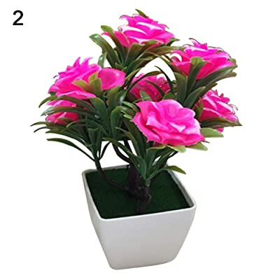 litymitzromq Artificial Flowers Outdoor Plants, 1Pc Potted Artificial Flower Bonsai Performance for Home Desk Garden Stage Office Wedding Restaurant Party Cafe Shop Decoration Gift Pink: Home & Kitchen