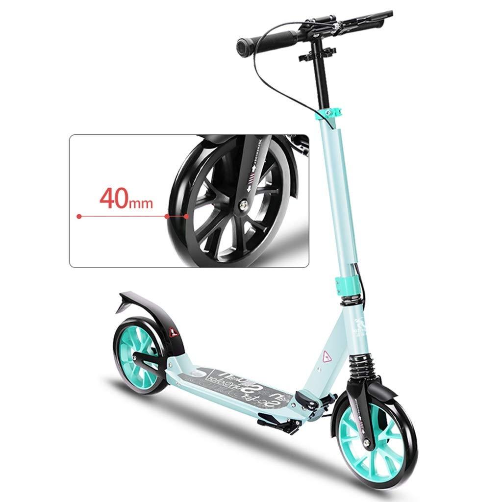 キックボード キックスクーター ハンドブレーキと大きな車輪付き折りたたみ式キックスクーター、高さ調節可能、大人の女の子用、10代の少年、100kgをサポート、ブラックグリーンパープル (色 : 緑) B07QS16PW7  緑