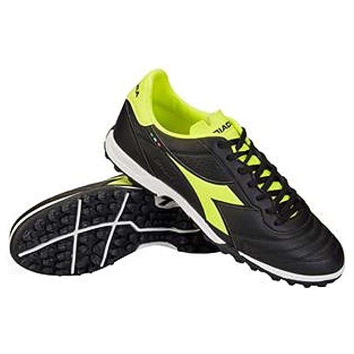 Diadora Men's Capitano TF Turf Soccer Shoes (8.5, Black/Yellow)