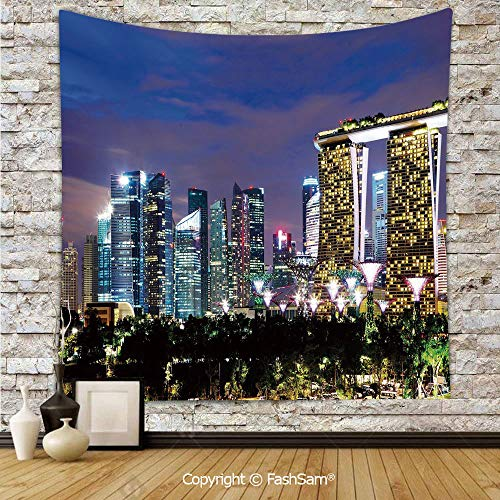 FashSam Polyester Tapestry Wall Singapore Cityscape at Night Modern Architecture Urban Life Asian Landmark Hanging Printed Home Decor(W51xL59)