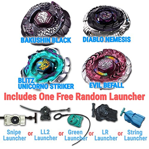 Beyblade Diablo Nemesis, Blitz Unicorno, Bakushin Susanow Black, Evil Befall 4 Pack from Metal Fusion, Metal Fury, Metal Master Series + 1 Free Launchers Shipped from USA