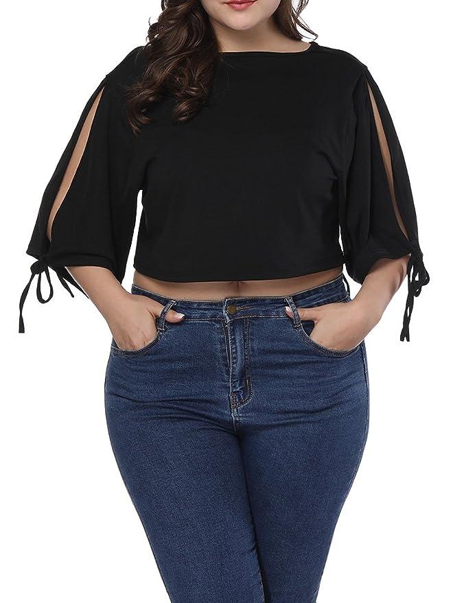 Allegrace Women Plus Size Open Shoulder Tie String Crop Top Casual Loose T Shirt Black 4X Best Crop Tops