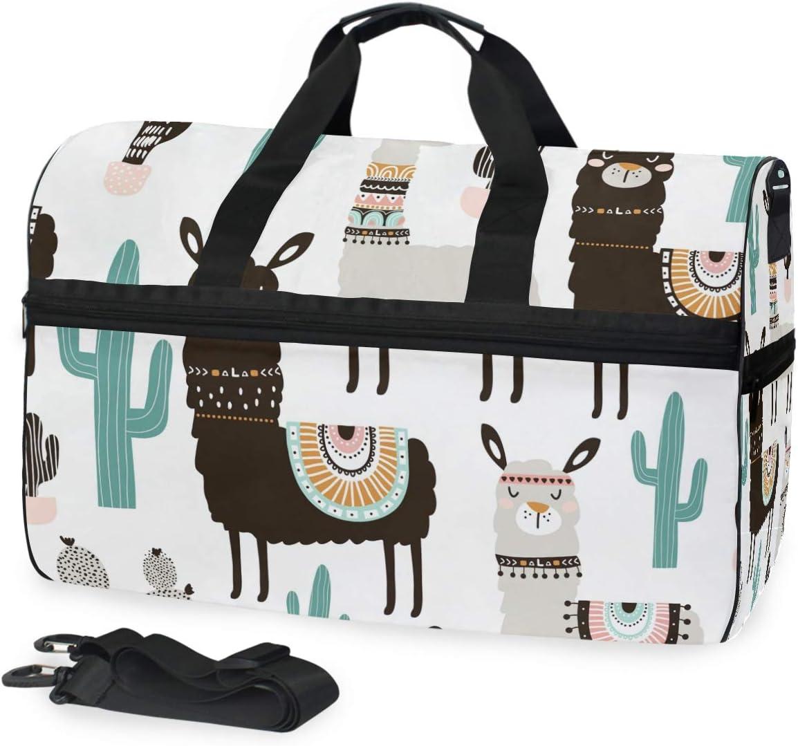 Travel Duffels Llama Cactus Duffle Bag Luggage Sports Gym for Women /& Men