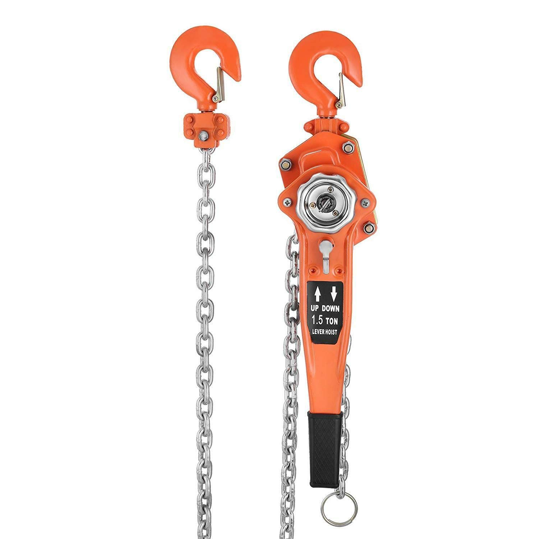 1.5Ton 5 feet//1.5m Heavy Duty Lever Block Chain Hoist Ratchet Come Along Puller