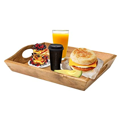 da8cb457f639 Amazon.com  Wood Serving Tray With Handles - Solid   Beautiful ...