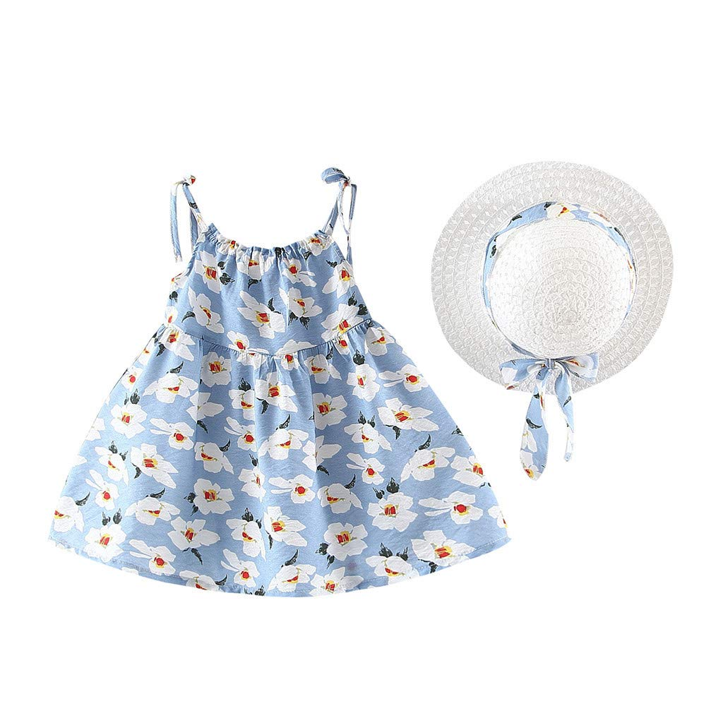 2pcs Baby Girls Strap Dress| Toddler Kids Sleeveless Sling Floral Print Outfits +Bow Hat Outfits Sets (6-12 Months, Light Blue)