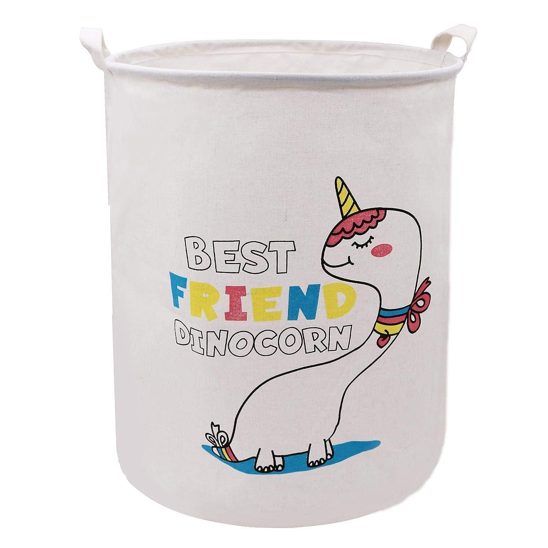 Collapsible Laundry Storage Basket Hamper 19.7 x 15.7 Inch, Munzong Large Storage Bin, Cotton Canvas Fabric Storage, Round Gift Basket with Handles for Toys, Laundry, Baby Nursery (White Unicorn)