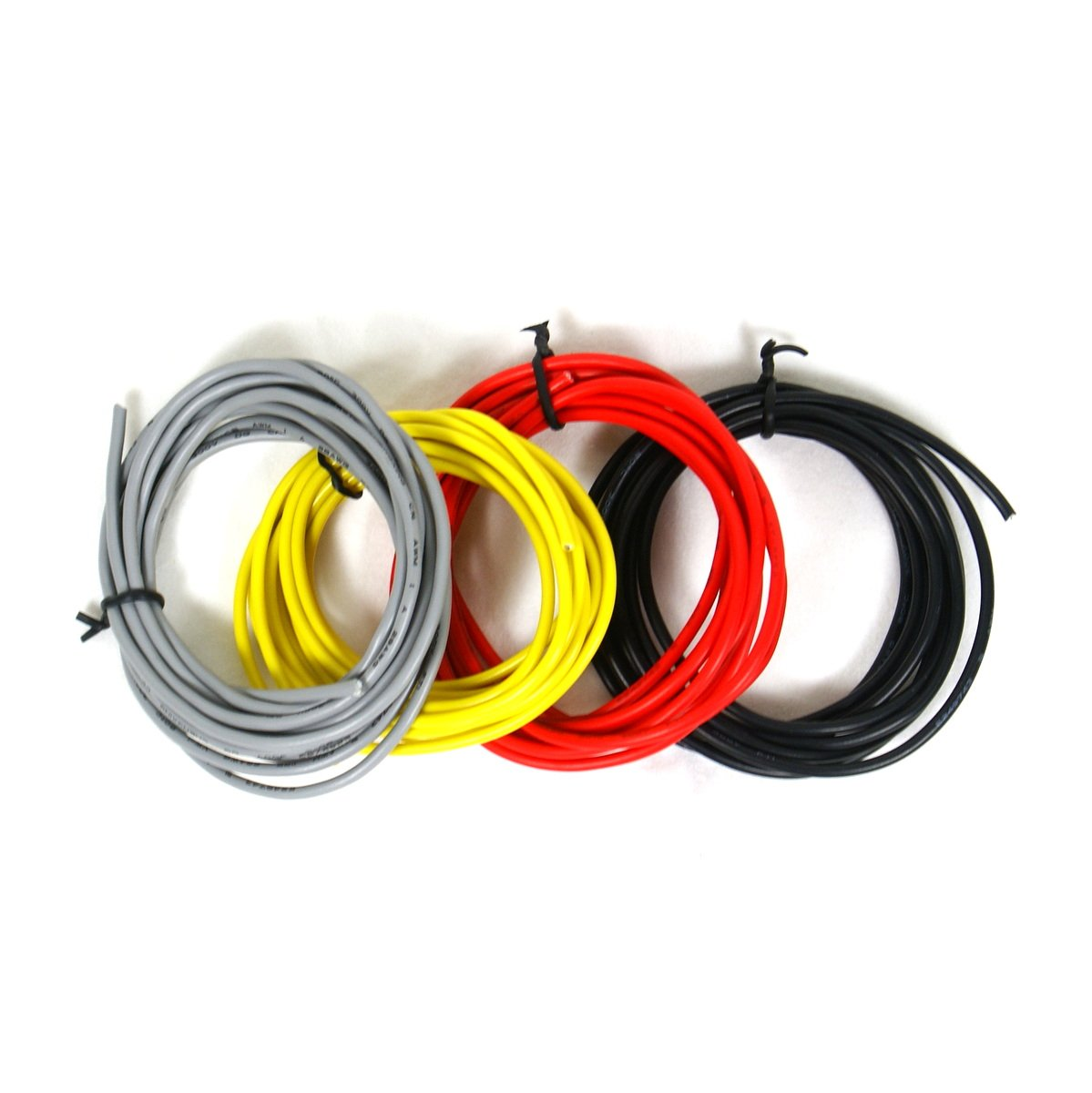 Set of 4 6-foot Shielded Guitar Circuit Wire Single Conductor - Red,yellow,black & Gray