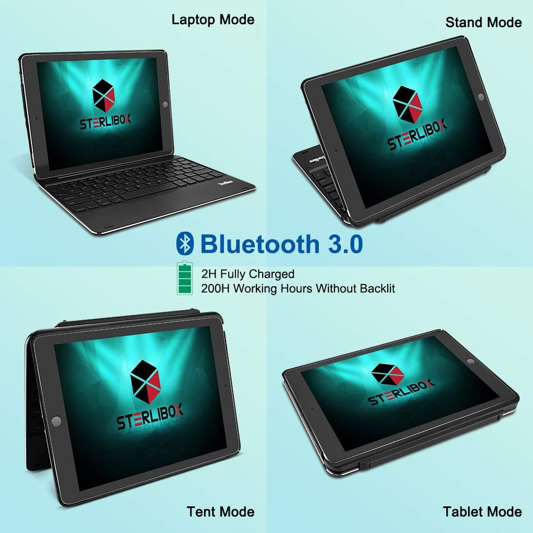 iPad Keyboard Case for The 2018 iPad (6th Gen), 2017 iPad (5th Gen), iPad Pro 9.7, iPad Air 1 - Auto Sleep/Wake - Detachable & Quiet - 7 Color Backlit - Wireless/Bluetooth - iPad Case with Keyboard by Sterlibox (Image #3)