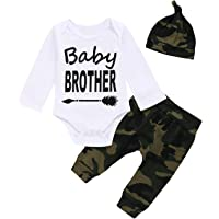 Aslaylme 3PCS Baby Boy Outfit Set Baby Brother Dinosaur Tops Pant Romper