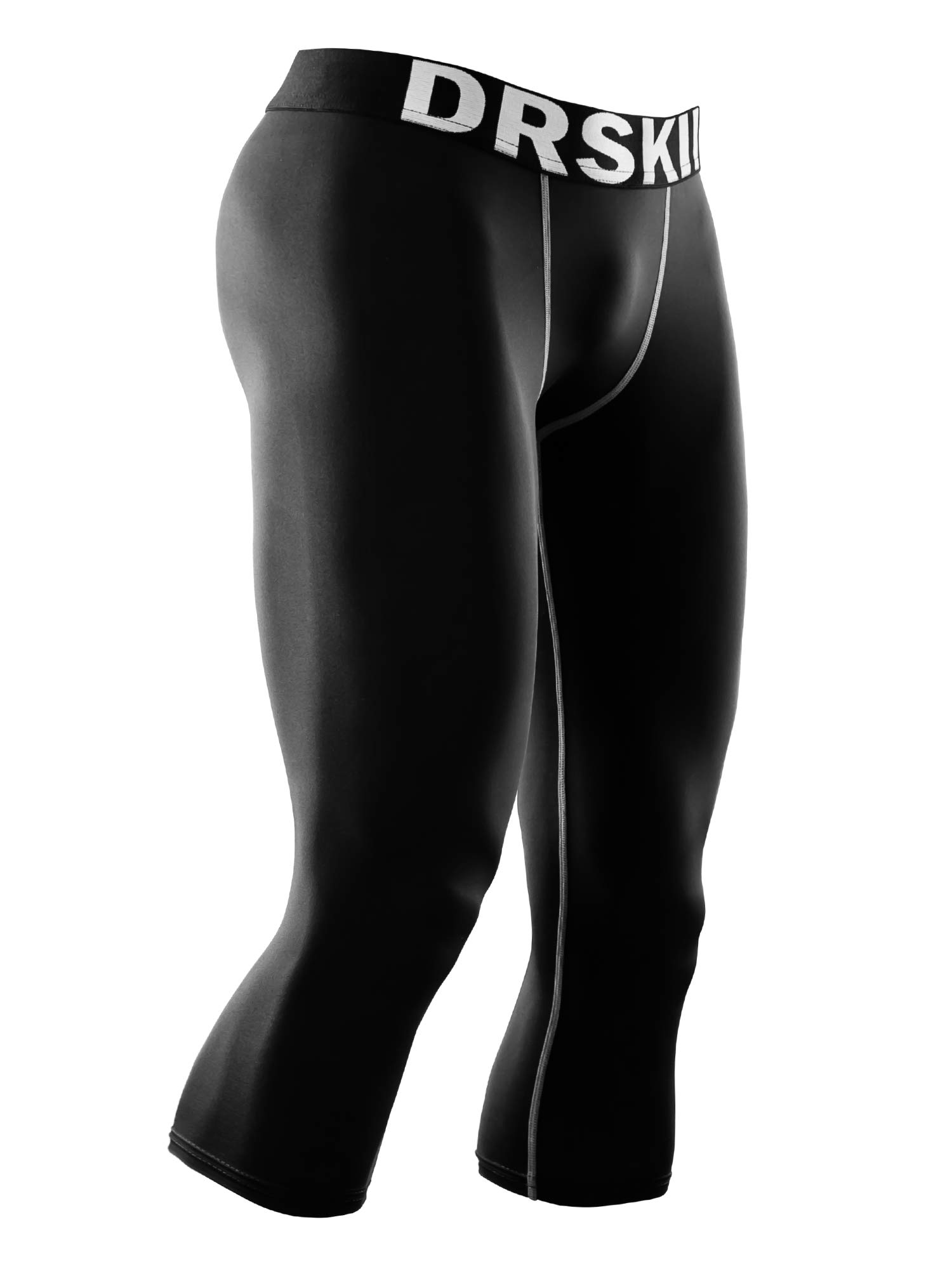 DRSKIN Men's 3/4 Compression Tight Pants Base Under Layer Running Shorts Warm Cool Dry (Line BG802, 2XL) by DRSKIN