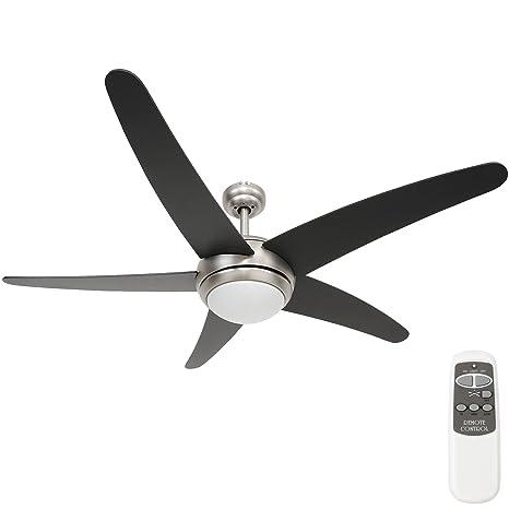 Jago Ventilatore Da Soffitto Con 5 Pale Regolabile Con Luce E Telecomando