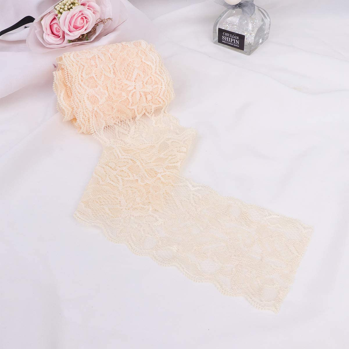 Healifty 1 Roll Lace Ribbon Elastic Lace Trim Lace Craft Ribbon Gift Packing Ribbon DIY Material White
