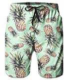 Idgreatim Mens Summer 3D Pineapple Printed Funny Beach Pants Running Swimming Casual Short with Pockets M