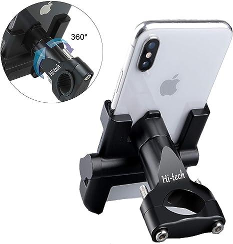 Soporte Móvil Teléfono Moto Bici, Bicicleta, Aleación de Aluminio, GPS Ajustable, Manillar para teléfono móvil, Estera de Silicona para iPhone/Samsung/Huawei con 360 Grados de rotación: Amazon.es: Electrónica