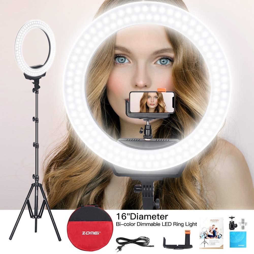 ZOMEi Ring Light 16'' Led Ring Light Bi-Color Dimmable Photography Filling Light Continuous Lighting with Tripod and Phone Holder for Selfies Make-up YouTube Video Shoot
